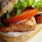 BBQ salmon sandwich with lemon dill mayo