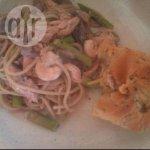 Salmon and Prawn Spaghetti Dish