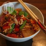 Peanut pork stir fry with vegetables