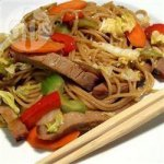 Sweet and Spicy Pork Stir Fry with Chinese Noodles