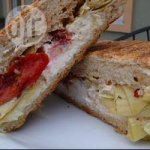 Goat cheese, artichoke and sun-blush tomato panini