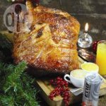 Orange and passion fruit glazed ham