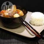 Nikujaga: Japanese stewed meat and potatoes cooked in a thermal slow cooker