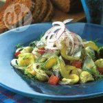 Hot pasta with pickled herrings in a dill and mustard dressing