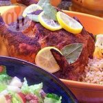 Curried roast chicken with couscous