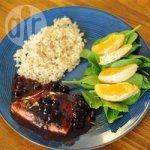 BBQ Salmon with Savoury Blueberry Sauce