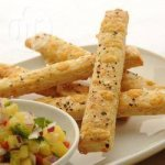 Tickler's Scrumptious Cheese Straws with Pineapple Salsa