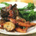 Pot roast beef with braised vegetables