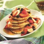 Mini Pancakes with Strawberry-Banana Topping