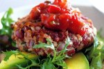 Bean burgers with avocado and salsa