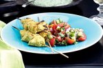 Chicken tikka skewers with mint raita