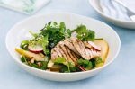 Pear & pecan salad with maple mustard pork