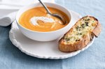 Sweet potato soup with cheese & thyme toast