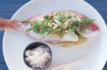 Baked snapper with snow pea salad and lime dressing