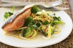 Broccoli chilli noodles with grilled salmon