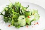 Cucumber rolls stuffed with feta