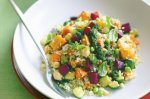 Jewelled vegetable and couscous salad with green harissa dressing
