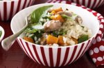 Sausage and maple-glazed pumpkin risotto