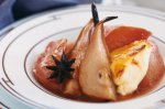 Spiced quince and pears with baked custard