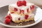 Raspberry and white chocolate cheesecake slice